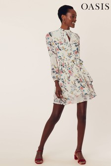 Oasis Natural Tiered Floral Skater Dress