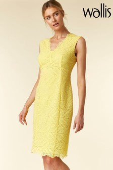 Wallis Yellow Lemon Scallop Lace Shift Dress