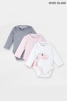 River Island Pink Dino Long Sleeve Bodysuits 3 Pack