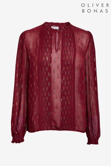 Oliver Bonas Red Sparkle Long Sleeve Top
