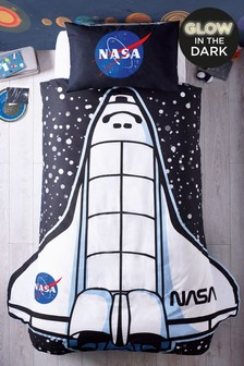 Glow In The Dark Nasa Rocket Duvet Cover And Pillowcase Set