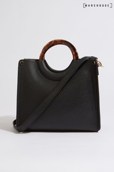 Warehouse Black Ring Handle Tote Bag