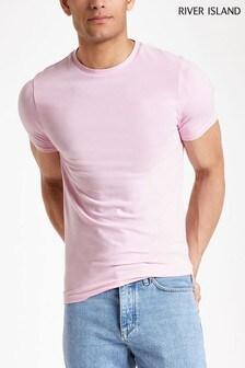 River Island Light Pink Muscle Crew T-Shirt