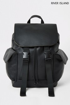 River Island Double Buckle PU Rucksack