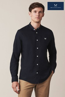 Crew Clothing Blue Slim Fit Grandad Oxford Shirt