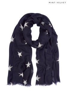 Mint Velvet Navy Double Star Print Scarf