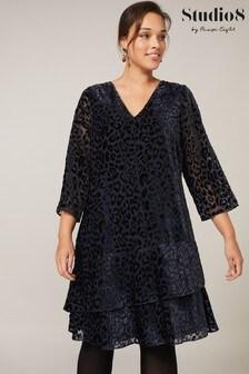 Studio 8 Midnight Elspeth Velvet Leopard Dress
