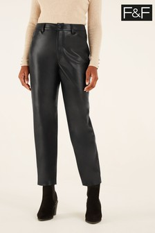 F&F Black PU Trousers