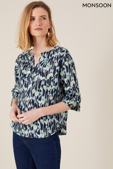 Monsoon Blue Lulu Printed Blouse In Pure Linen