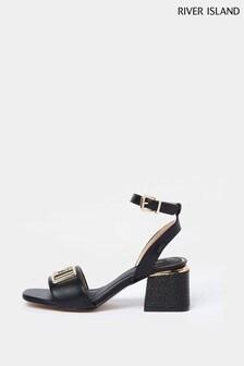 River Island Black Wide Fit Branded 2 Part Sandals
