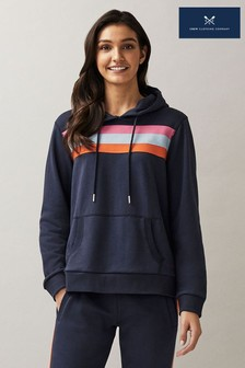 Crew Clothing Company Blue Colourblock Stripe Hoody