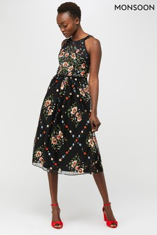 Monsoon Black Apple Embellished Midi Dress