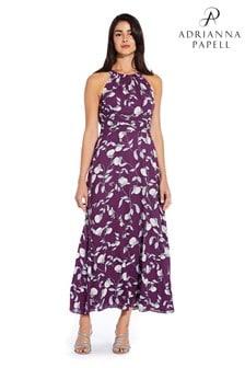 Adrianna Papell Natural Botanical Halter Maxi Dress