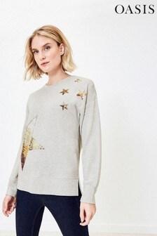 Oasis Grey Sequin Star Sweater