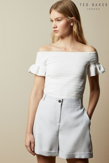 Ted Baker Misteey Bardot Frill Detail Knitted Top