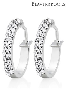 Beaverbrooks 9ct White Gold Crystal Hoop Earrings