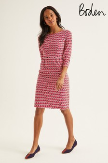 Boden Red Penny Jersey Dress