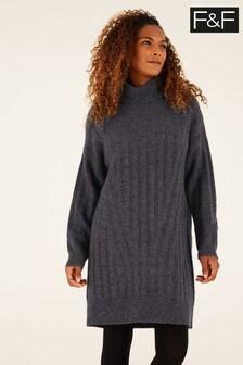 F&F Grey Rib Roll Neck Dress