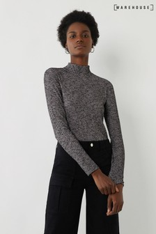 Warehouse Black Space Dye Funnel Neck Top