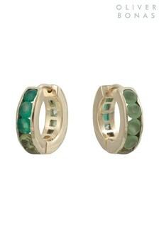 Oliver Bonas Green Maren Stone Inlay Hoop Earrings