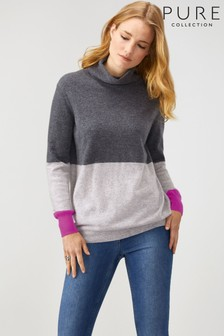 Pure Collection Grey Cashmere Boyfriend Polo Neck Sweater