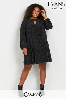 Evans Curve Silver Keyhole Detail Tunic Dress