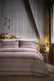 Fairisle Pattern Reversible Duvet Cover and Pillowcase Set by Fusion