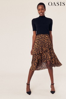 Oasis Animal Leopard Tiered Skirt