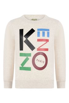 Boys Beige Marl Cotton Logo Print Sweater