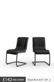 Set Of 2 Bernie Faux Leather Dining Chairs