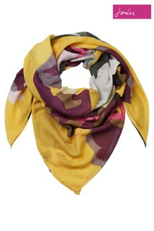 Joules Yellow Atmore Square Cotton Scarf