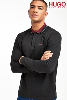HUGO Donol Long Sleeve Logo Poloshirt