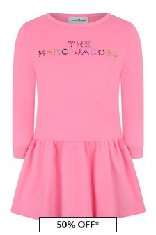 Girls Pink Cotton Logo Dress