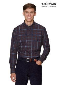 T.M. Lewin Burgundy/Navy Large Check Slim Fit Cuff Shirt