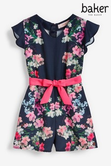 Baker by Ted Baker Girls Navy Floral Playsuit