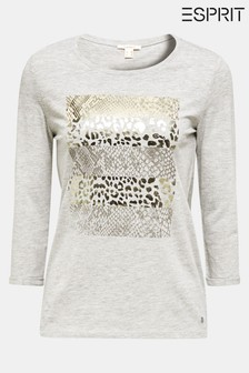 Esprit Grey 3/4 Sleeve T-Shirt With Animal Print
