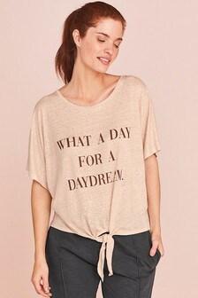Linen Blend Slogan T-Shirt