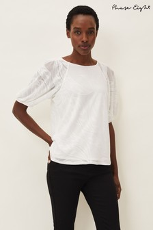 Phase Eight Cream Addie Textured Balloon Sleeve Top