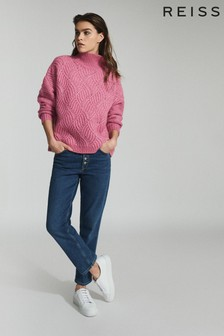Reiss Pink Ola Oversized Cable Knit Jumper