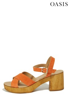 Oasis Mid Orange Leather Block Heel Sandals