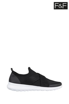 F&F Black Elastic Slip-On Trainers