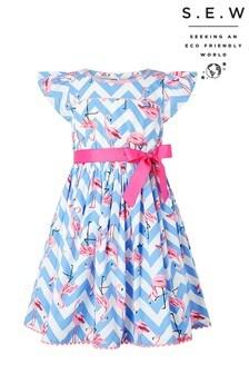 Monsoon Blue S.E.W Adrienne Flamingo Dress