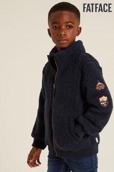 FatFace Blue Fleece Zip Through Bomber Sweater