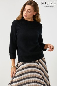 Pure Collection Black Cashmere Lofty Turtle Neck Sweater
