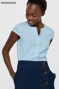 Monsoon Blue Romano Short Sleeve Top