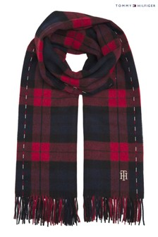 Tommy Hilfiger Red Wool Check Scarf