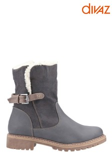 Divaz Melanie Grey Mid Buckle Boots