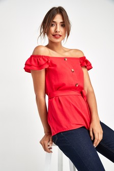 Button Bardot Top