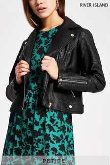 River Island Petite Black Quilted Biker Jacket