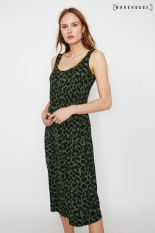 Warehouse Green Brushed Animal Print Channel Dress